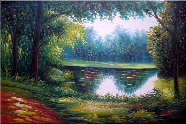 Summer Peaceful Reflection Oil Painting Landscape River Naturalism 24 x 36 Inches