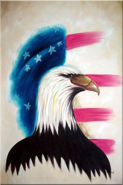 Eagle Head and American Flag Oil Painting Animal Modern 36 x 24 Inches