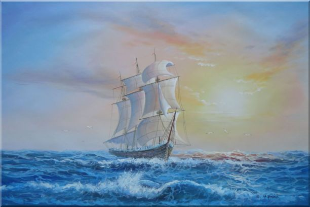 Big Rigged Sailing Ship Oil Painting Boat Naturalism 24 x 36 Inches