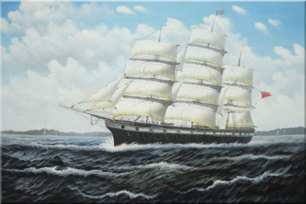 Vintage Sailing Ship Oil Painting Boat Classic 24 x 36 Inches