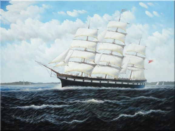 Vintage Sailing Ship Oil Painting Boat Classic 36 x 48 Inches