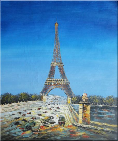 Eiffel Tower Scene Oil Painting Cityscape France Impressionism 24 x 20 Inches