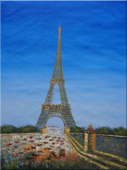 Eiffel Tower Scene Oil Painting Cityscape France Impressionism 48 x 36 Inches