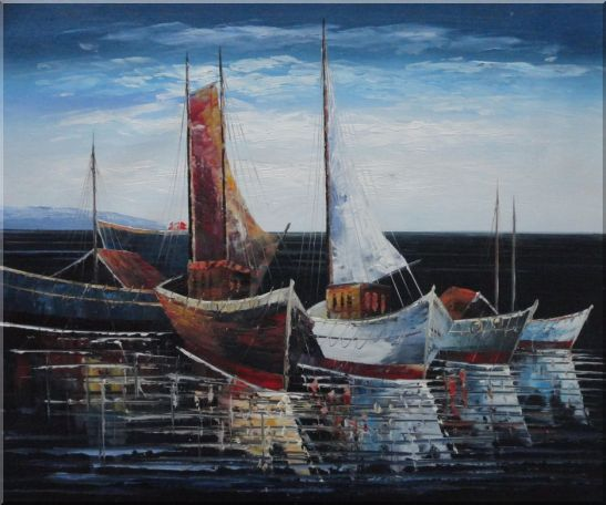 Sail Boats in Port Oil Painting Impressionism 20 x 24 Inches