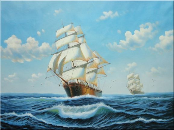 Two Sailing Merchant Ships Oil Painting Boat Classic 36 x 48 Inches