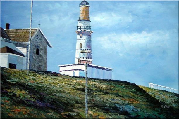 Light House Oil Painting Village Naturalism 24 x 36 Inches