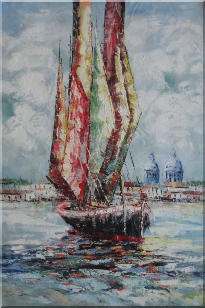 Fully Rigged Sailing Boat Oil Painting Modern 36 x 24 Inches