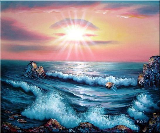 Ocean Sunset Sea Waves Oil Painting Seascape Naturalism 20 x 24 Inches