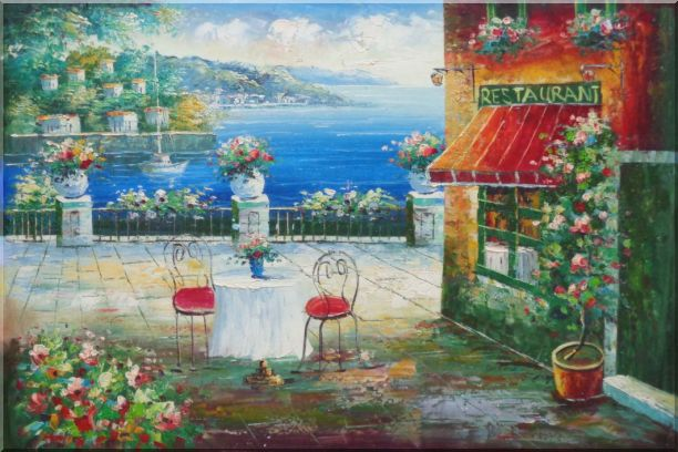 Beach Sidewalk Restaurant Oil Painting Mediterranean Naturalism 24 x 36 Inches