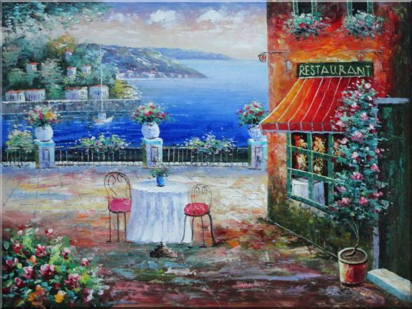 Beach Sidewalk Restaurant Oil Painting Mediterranean Naturalism 36 x 48 Inches