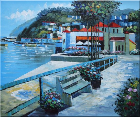 Red Roof Beach Houses Oil Painting Mediterranean Naturalism 20 x 24 Inches