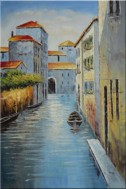 Small Boat in Venice Water Canal Oil Painting Italy Naturalism 36 x 24 Inches