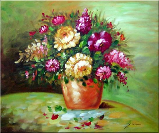 Yellow and Pink Flowers in Vase Oil Painting Still Life Bouquet Impressionism 20 x 24 Inches