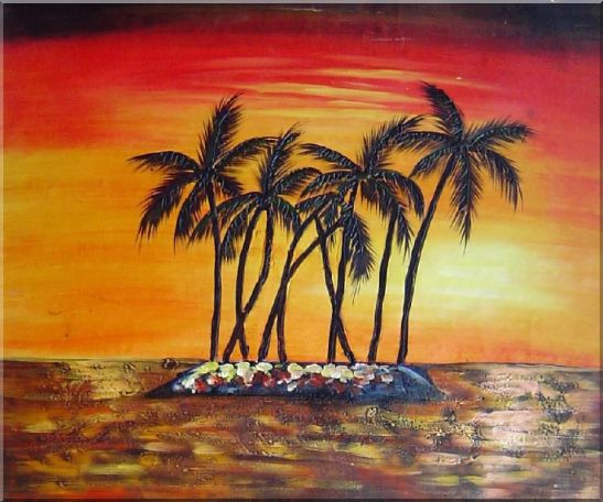 Palm Trees Silhouettes on Red and Orange Sky Sunset Oil Painting Seascape America Naturalism 20 x 24 Inches