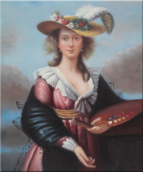 A Well-Dressed Beautiful Female Artist with Color Palette and Brushes Oil Painting Portraits Woman Classic 24 x 20 Inches