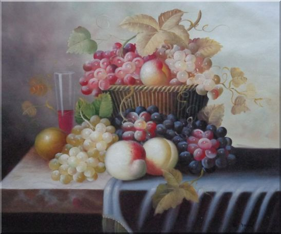 Basket of Fruit with Red, White, Purple Grapes, Peaches, Plums and Cherries Oil Painting Still Life Classic 20 x 24 Inches