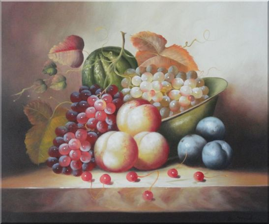 Plate with Grapes, Peaches, Purple Plums, Cherries and Green Pumpkin Oil Painting Still Life Fruit Classic 20 x 24 Inches