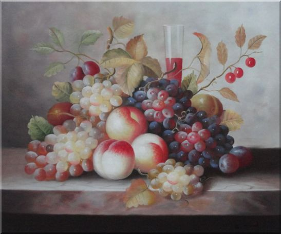 Grapes, Peaches, Cherries, Tomato With Glass of Red Juice Oil Painting Still Life Fruit Classic 20 x 24 Inches