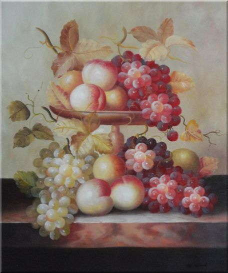 Grapes, Peaches and Oranges with Compote Plate Oil Painting Still Life Fruit Classic 24 x 20 Inches