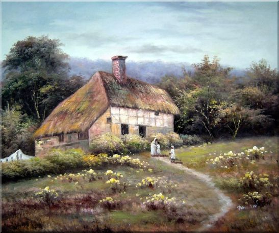 Small Old House Oil Painting Village Classic 20 x 24 Inches