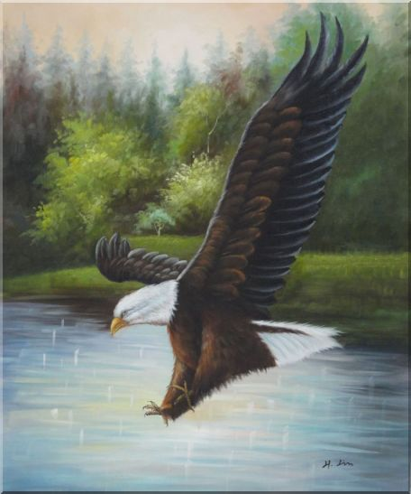 American Bald Eagle Strike Water Oil Painting Animal Naturalism 24 x 20 Inches