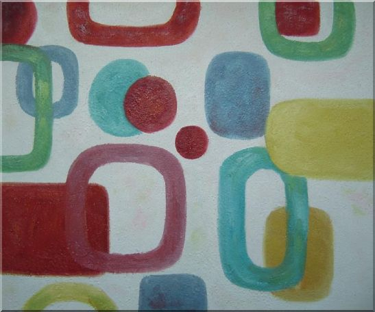 Colorful Rings and Dots in White Background Oil Painting Nonobjective Modern 20 x 24 Inches