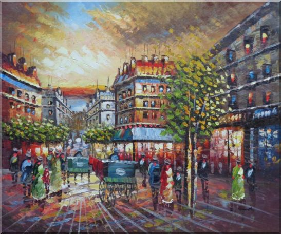 Pedestrian Walk on Paris Street Scene Oil Painting Cityscape France Impressionism 20 x 24 Inches