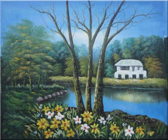 House in a Beautiful Garden with Pond and Flowers Oil Painting Naturalism 20 x 24 Inches