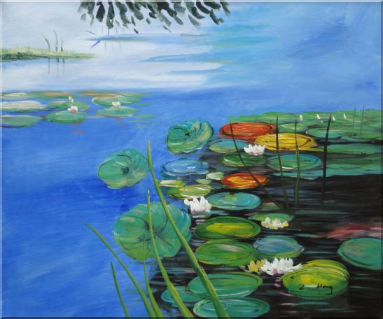 Water Lilies In Pond Oil Painting Landscape River Impressionism 20 x 24 Inches