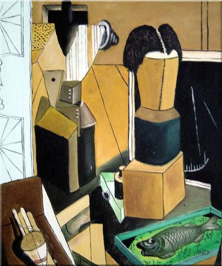 La camera incantata, Carlo Carra Reproduction Oil Painting Nonobjective Modern Cubism 24 x 20 Inches