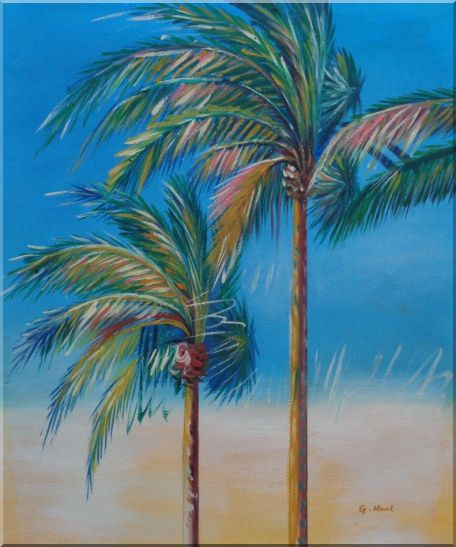 Palm Trees in Tropical Storm Oil Painting Seascape Naturalism 24 x 20 Inches