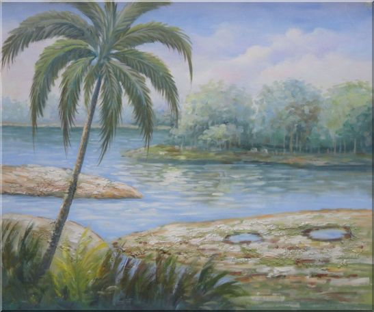 Pond Side Palm Tree Oil Painting Landscape River Naturalism 20 x 24 Inches