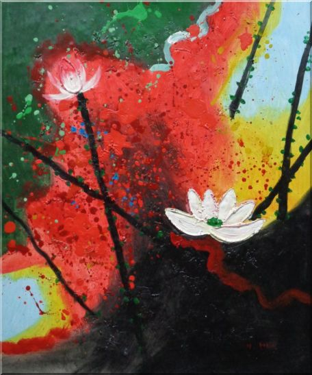 White Lotus in Green, Red and Black Setting Oil Painting Flower Asian 24 x 20 Inches