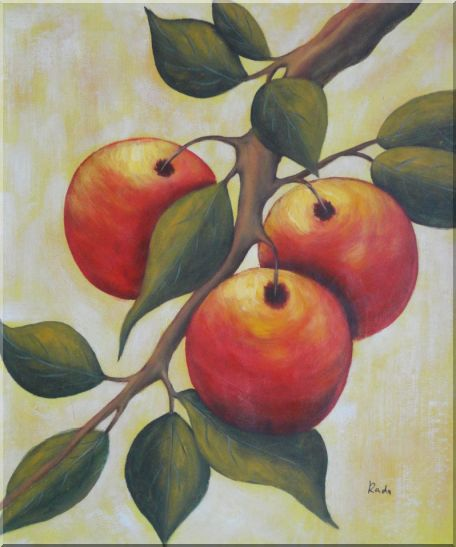 Branch of Red Fruit and Green Leaves Oil Painting Modern 24 x 20 Inches
