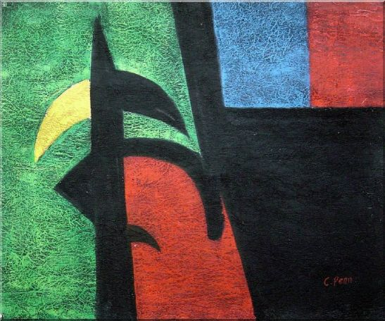 Black, Green, Red, Blue, Yellow Oil Painting Nonobjective Modern 20 x 24 Inches
