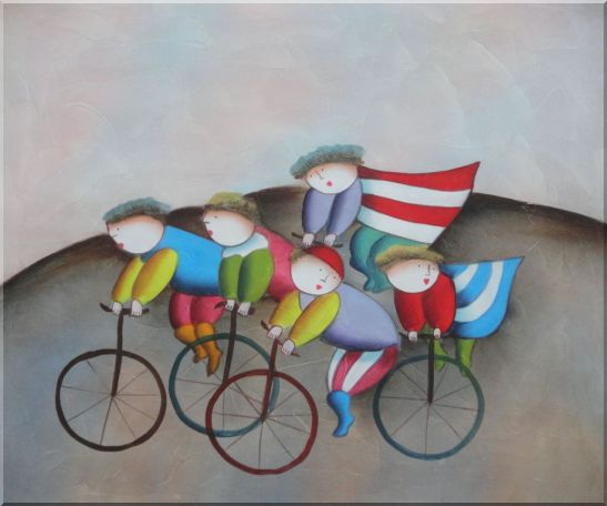 Cycling Circus Oil Painting Portraits Modern 20 x 24 Inches