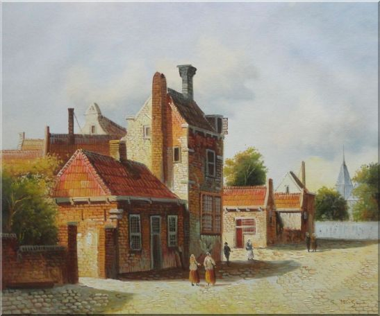 Holland Village Street Scene With Idle People Oil Painting Classic 20 x 24 Inches