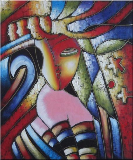 Beautiful Girl, Picasso Replica Oil Painting Portraits Woman Modern Cubism 24 x 20 Inches