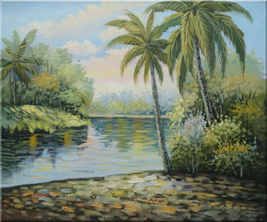 Palm Trees, River, Tropical Scenery Oil Painting Landscape Impressionism 20 x 24 Inches