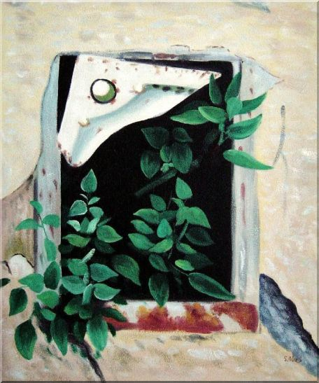 Open Window and Green Leaves Oil Painting Flower Naturalism 24 x 20 Inches
