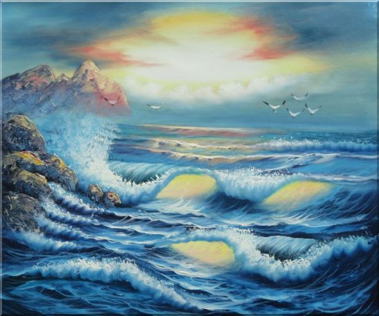 Flying Birds, Azores Sea Waves Hitting rocks Oil Painting Seascape Naturalism 20 x 24 Inches