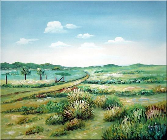 Broadly Country Road Oil Painting Landscape Naturalism 20 x 24 Inches