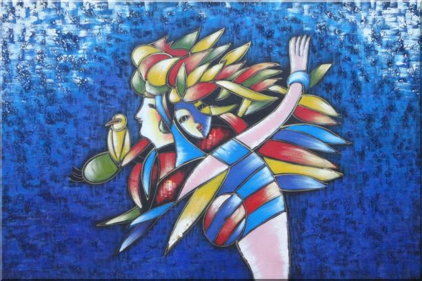 Mermaids And Bird, Picasso Reproduction Oil Painting Portraits Couple Modern Cubism 24 x 36 Inches