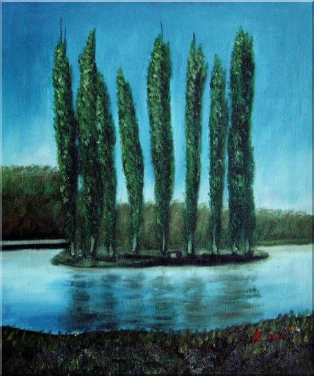 Tall Trees in center of Water Oil Painting Landscape River Naturalism 24 x 20 Inches