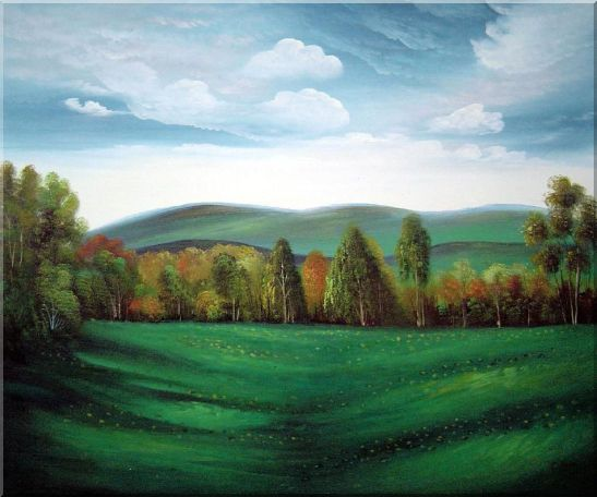 Summer Green Field Oil Painting Landscape Naturalism 20 x 24 Inches