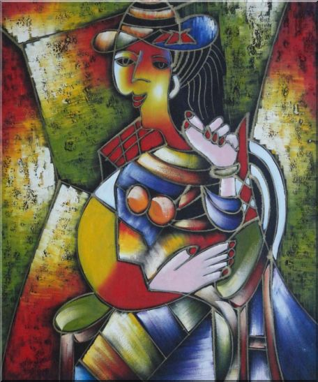 A Sitting Lady, Picasso Oil Painting Portraits Woman Modern Cubism 24 x 20 Inches