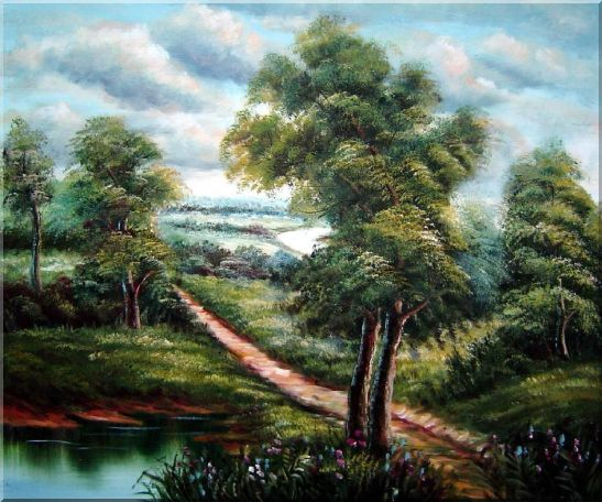 Off for a Stroll Oil Painting Landscape River Classic 20 x 24 Inches