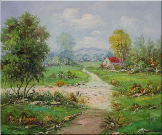 Countryside Footpath in Rural Village Oil Painting Naturalism 20 x 24 Inches