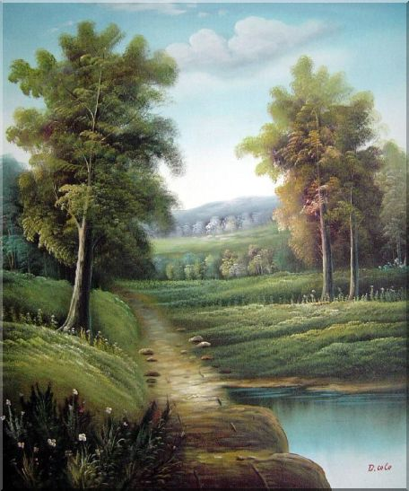 Tranquility Path Oil Painting Landscape River Classic 24 x 20 Inches