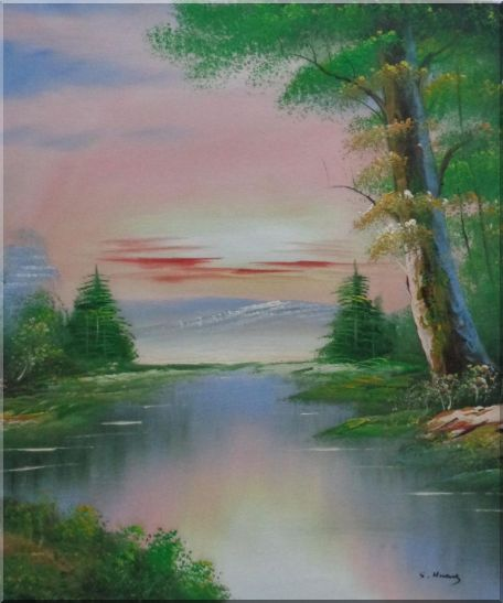 Calm Lake at the Crack of Dawn within Forest Oil Painting Landscape River Naturalism 24 x 20 Inches